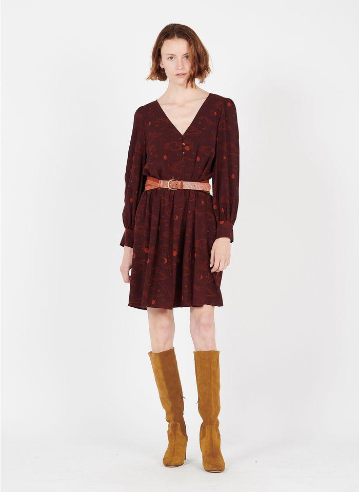 DES PETITS HAUTS Brown Short printed V-neck dress