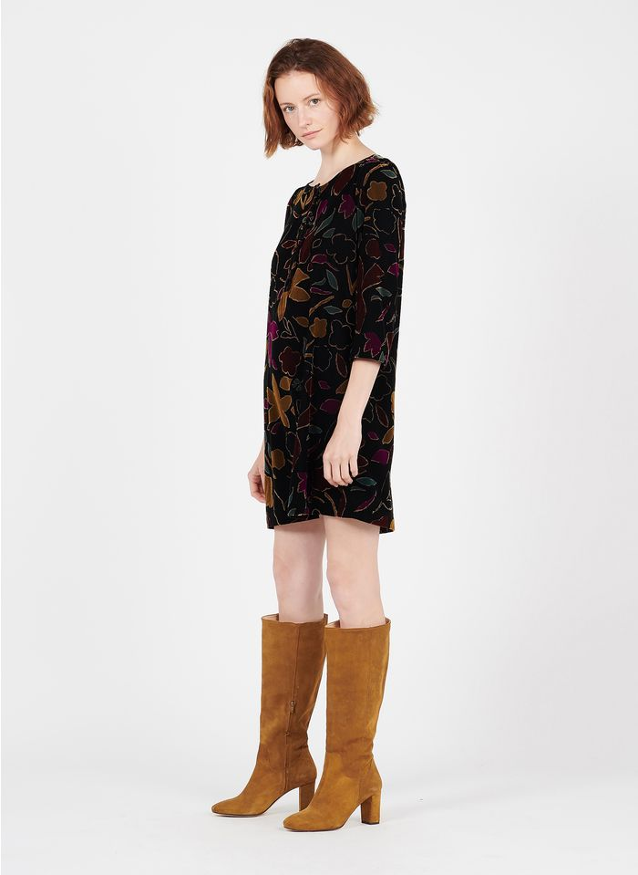 DES PETITS HAUTS Brown Short printed velvet dress with round neck