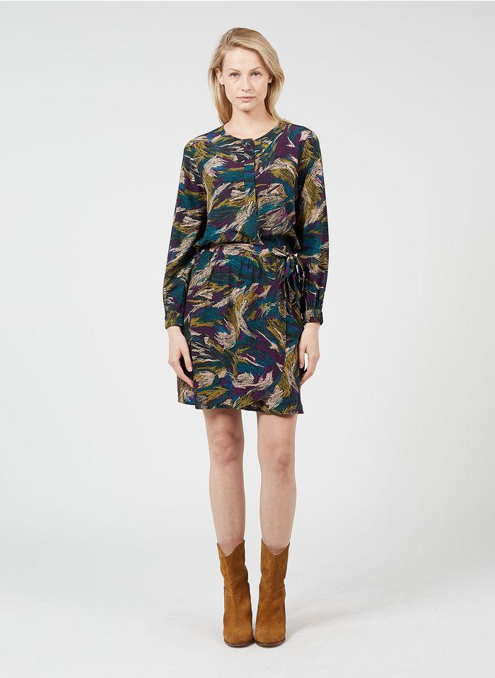 DES PETITS HAUTS Multicolored Short printed wrap skirt