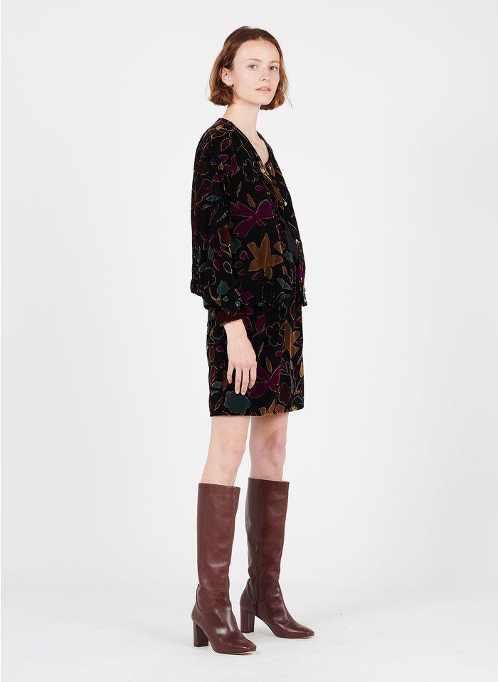 DES PETITS HAUTS Brown Short velvet jacquard skirt