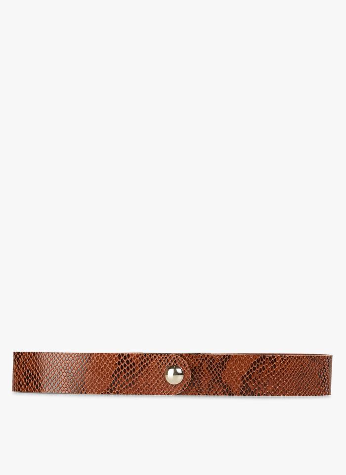DES PETITS HAUTS Brown Snakeskin-effect belt