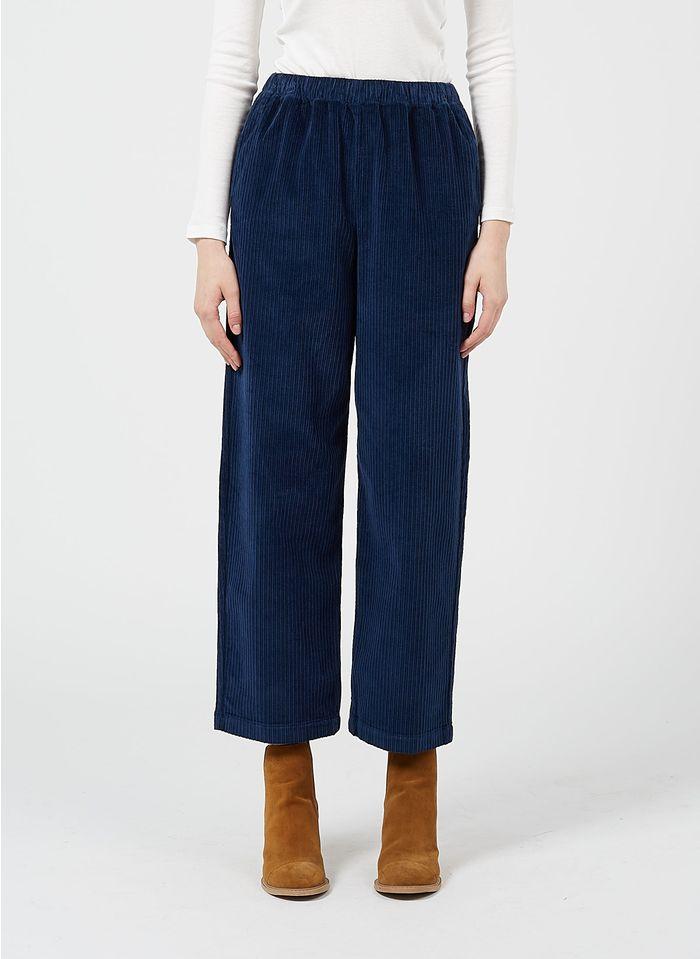 DES PETITS HAUTS Blue Straight corduroy pants