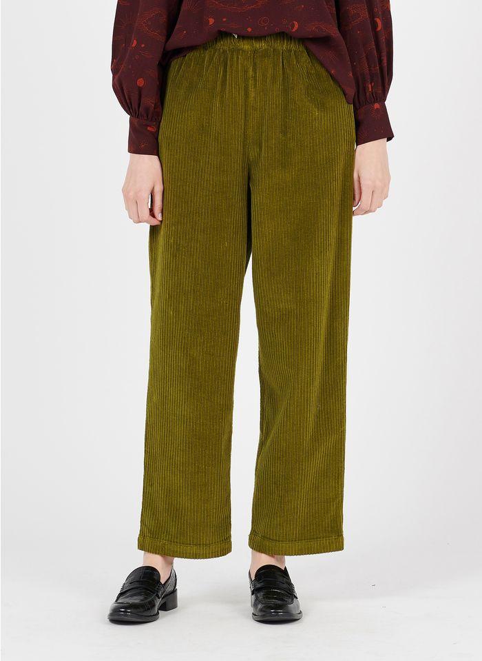 DES PETITS HAUTS Green Straight corduroy pants