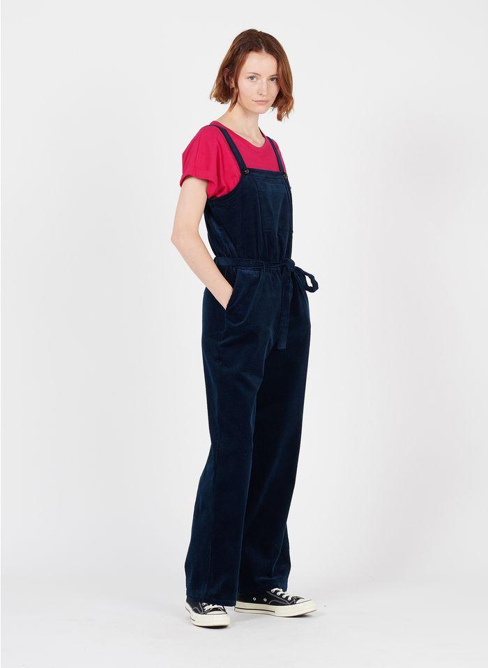 DES PETITS HAUTS Blue Straight cotton velvet jumpsuit with square neck