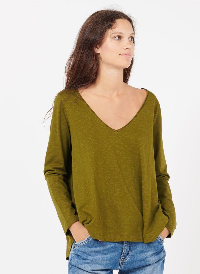 DES PETITS HAUTS Green V-neck cotton T-shirt