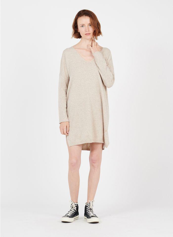 DES PETITS HAUTS Beige V-neck merino wool midi dress