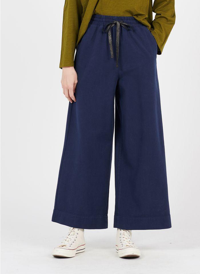 DES PETITS HAUTS Blue Wide-leg cotton-blend pants