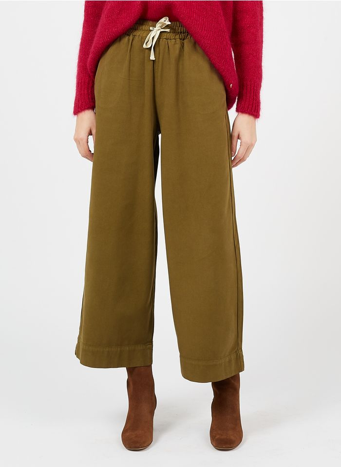 DES PETITS HAUTS Green Wide-leg cotton-blend pants