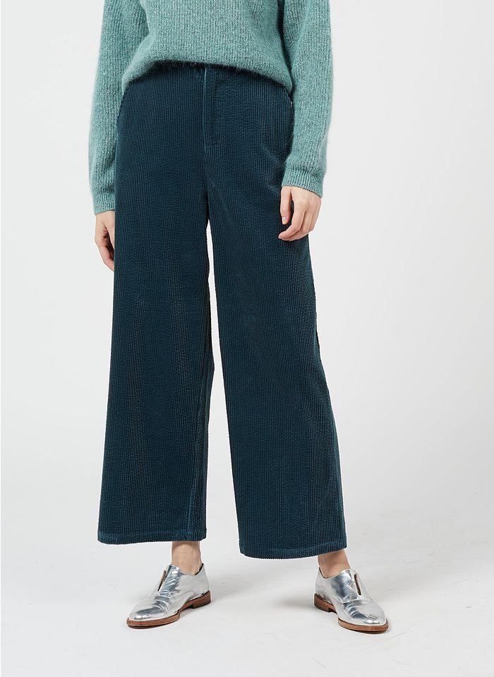 DES PETITS HAUTS Blue Wide-leg high-waisted corduroy pants