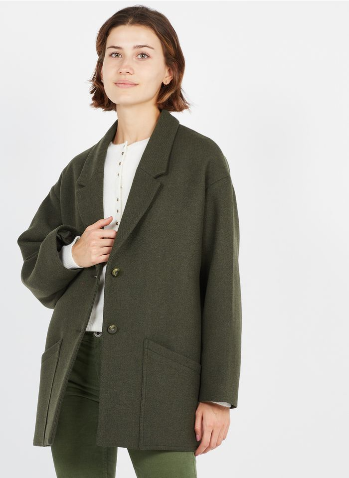 DES PETITS HAUTS Green Wool-blend coat with tailored collar