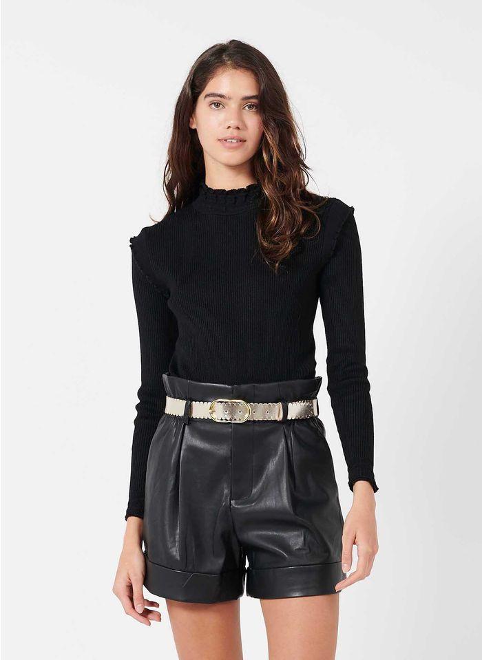 BEST MOUNTAIN Black High-neck skinny-rib sweater