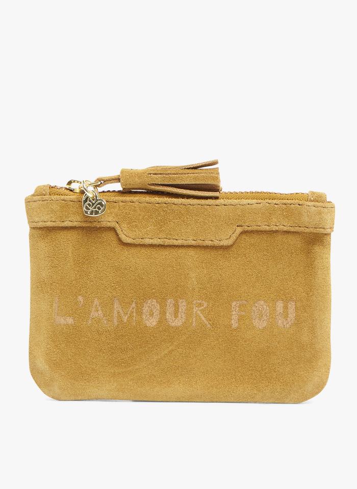 FEEKA Brown Zipped leather mini clutch bag