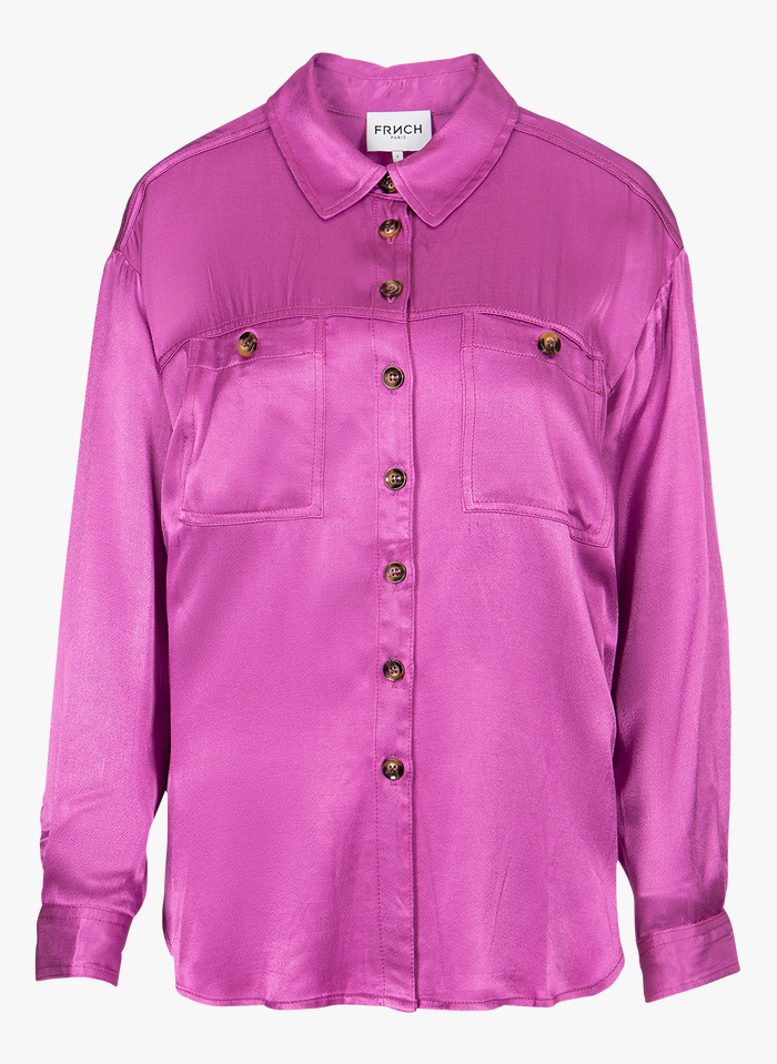 FRNCH Purple Satin-effect shirt with classic collar