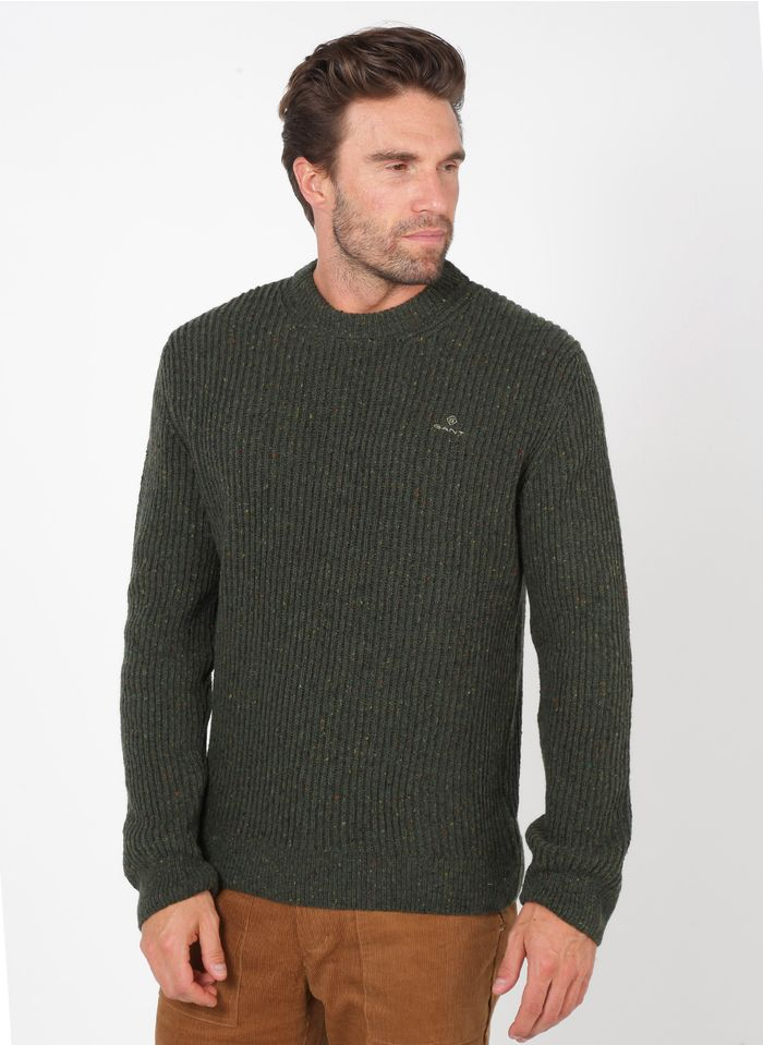 GANT Green Regular-fit wool-blend sweater with round neck