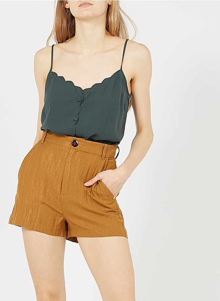 I CODE Green Embroidered camisole with buttons