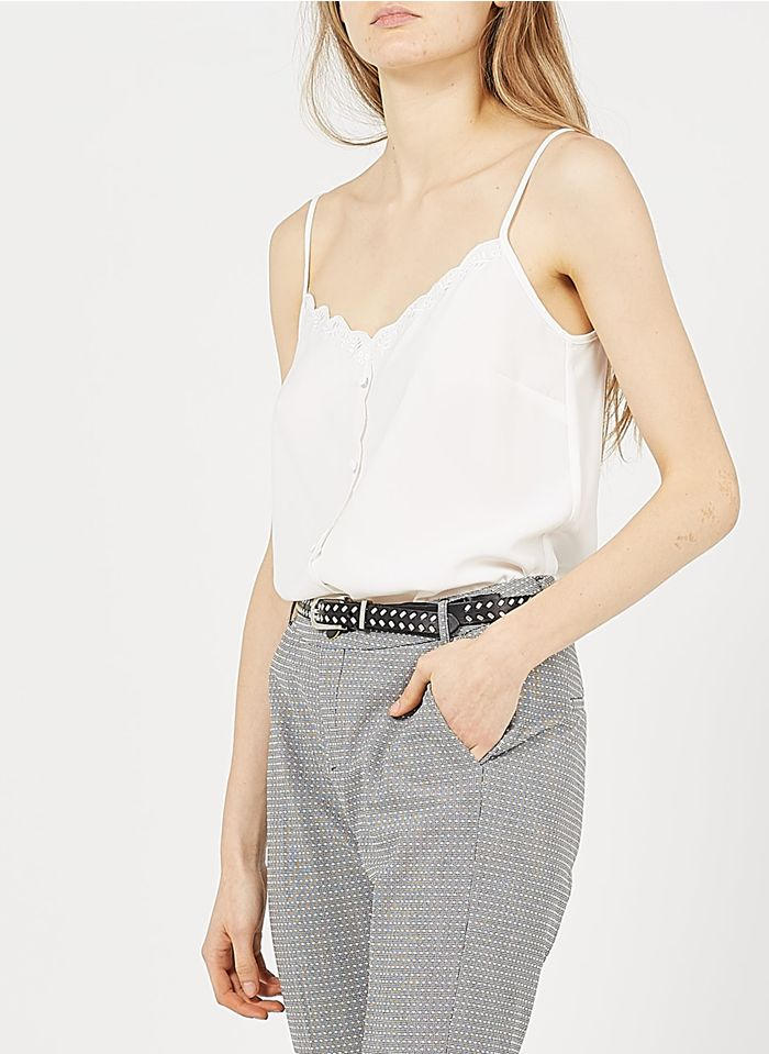 I CODE White Embroidered camisole with buttons