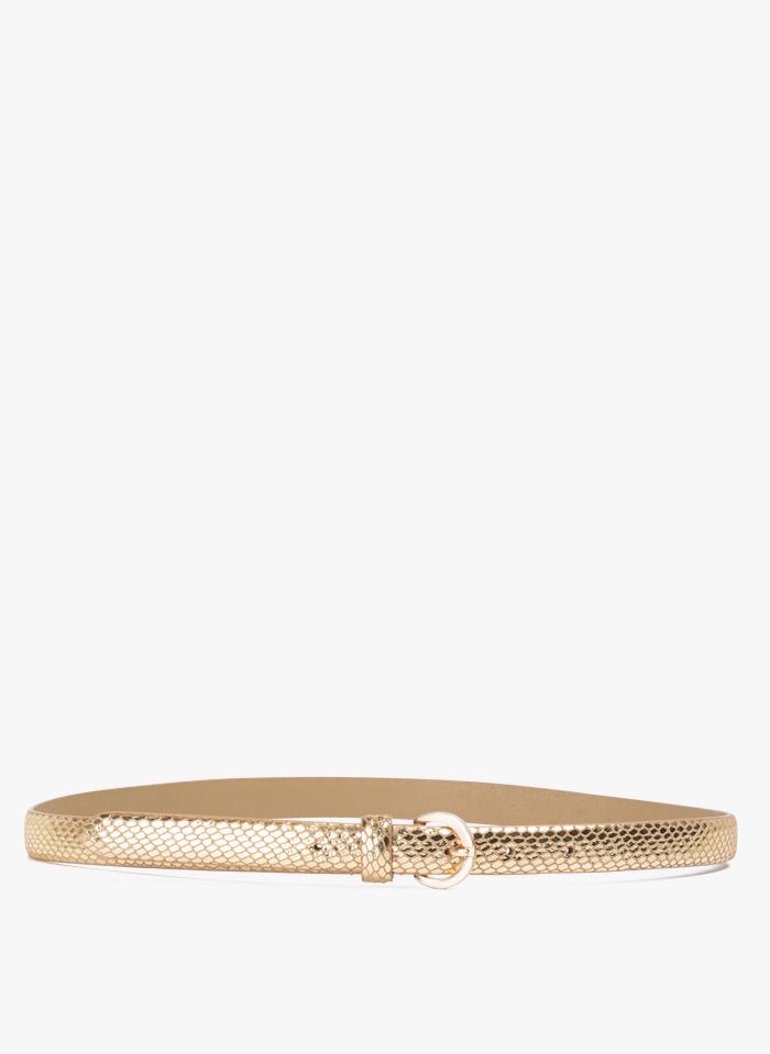 I CODE Golden Metallic leather belt