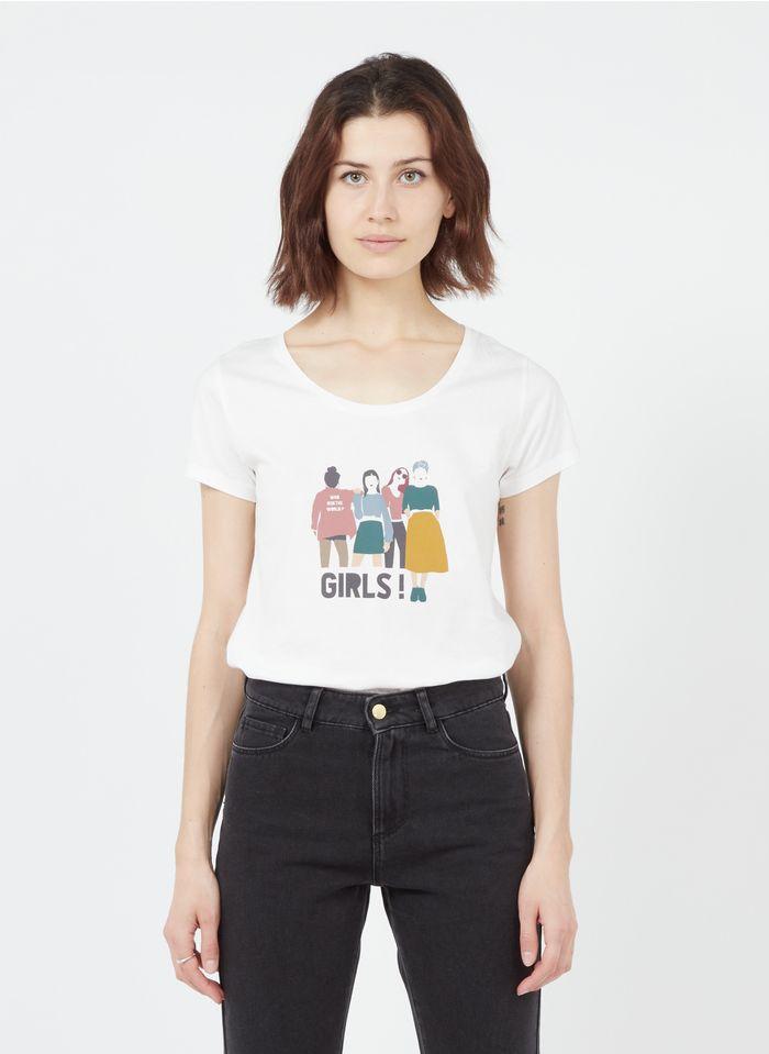 I CODE White Round-neck printed cotton T-shirt