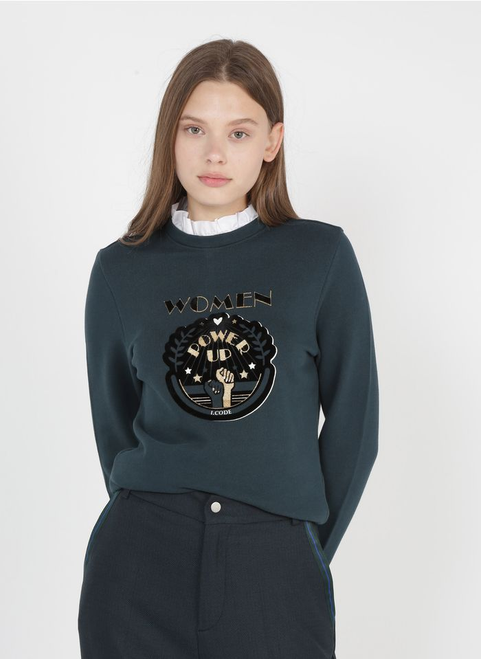 I CODE Green Screen-printed cotton sweater with Victorian collar