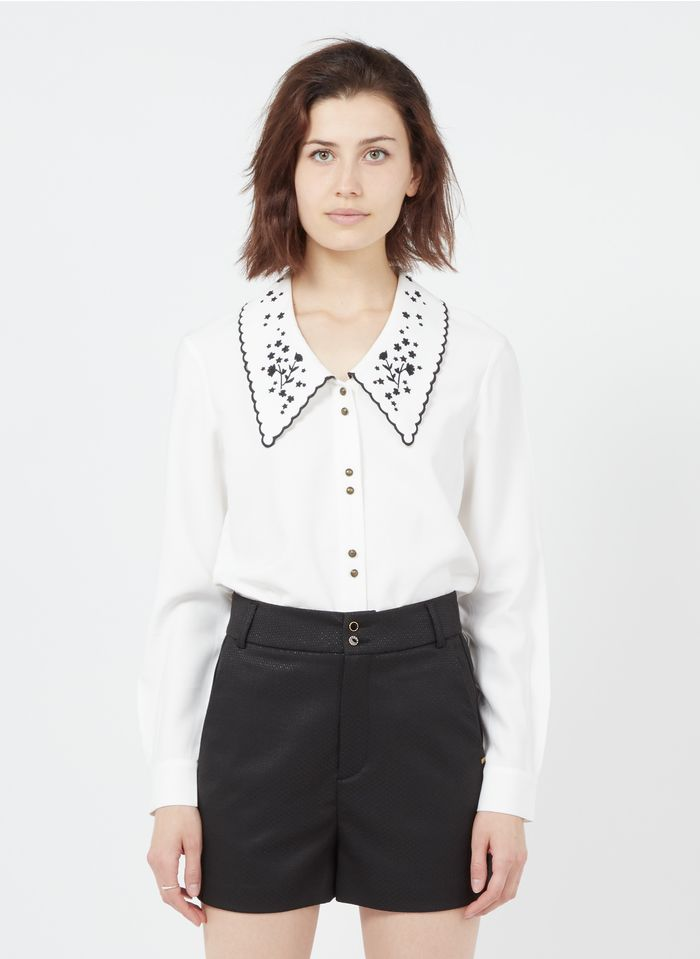 I CODE White Shirt with classic collar and embroidered details