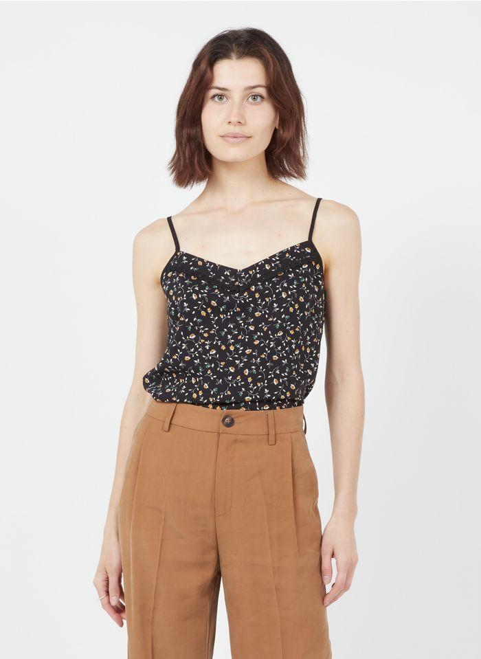 I CODE Black Strappy floral print V-neck top