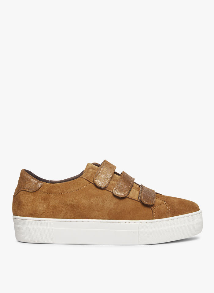 I CODE Brown Velcro leather flatform sneakers