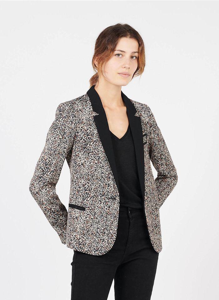 IKKS Black Animal print jacket with tailored collar