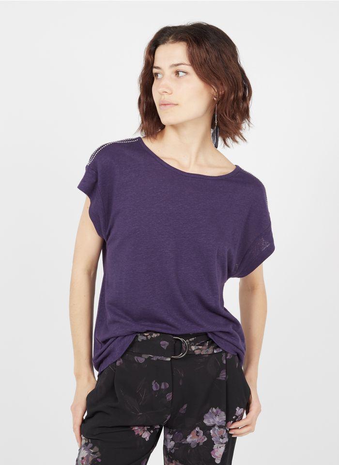 IKKS Purple Boat-neck linen-blend top