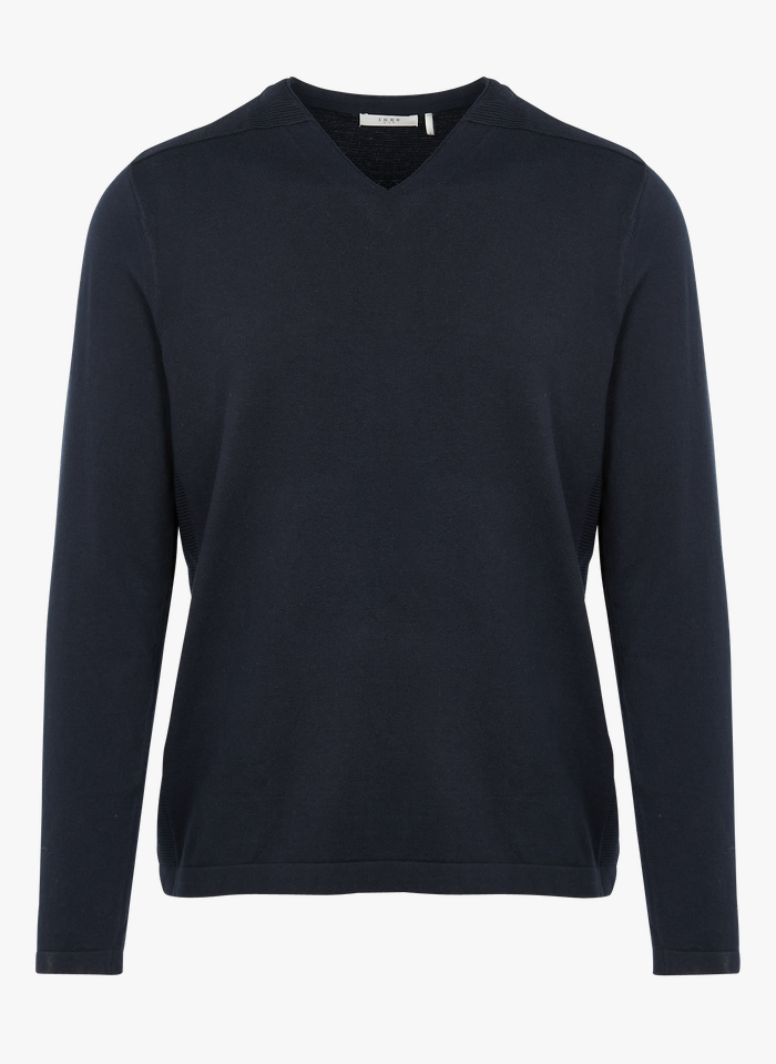 IKKS Blue Cotton-blend V-neck sweater