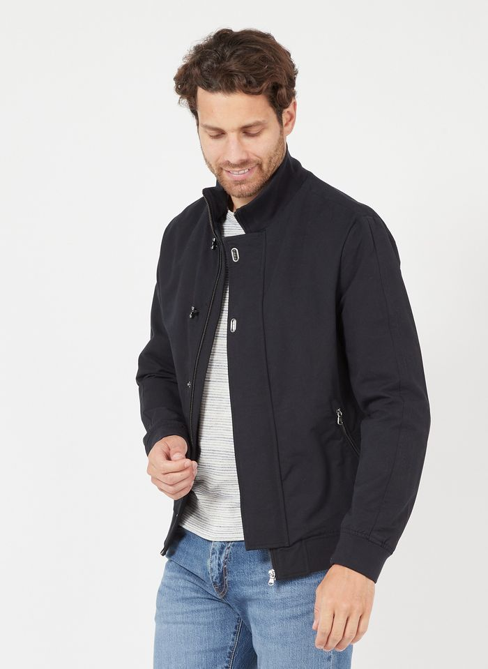 IKKS Blue Cotton bomber jacket with zip-up high neck