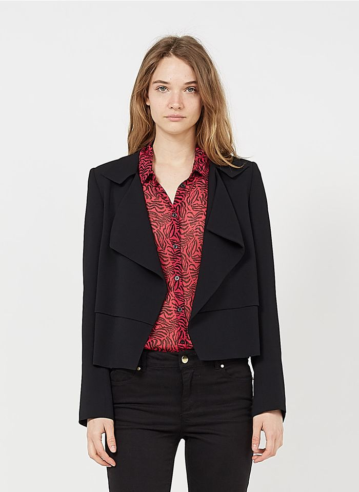 IKKS Black Crepe jacket with tailored collar