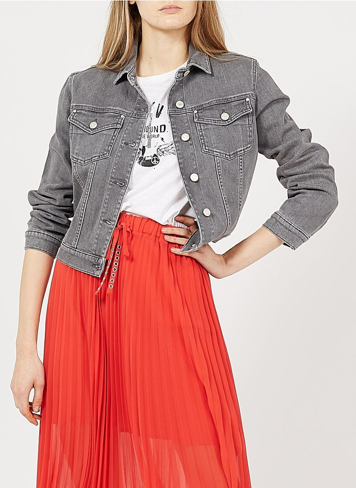 IKKS Grey Denim jacket with classic collar
