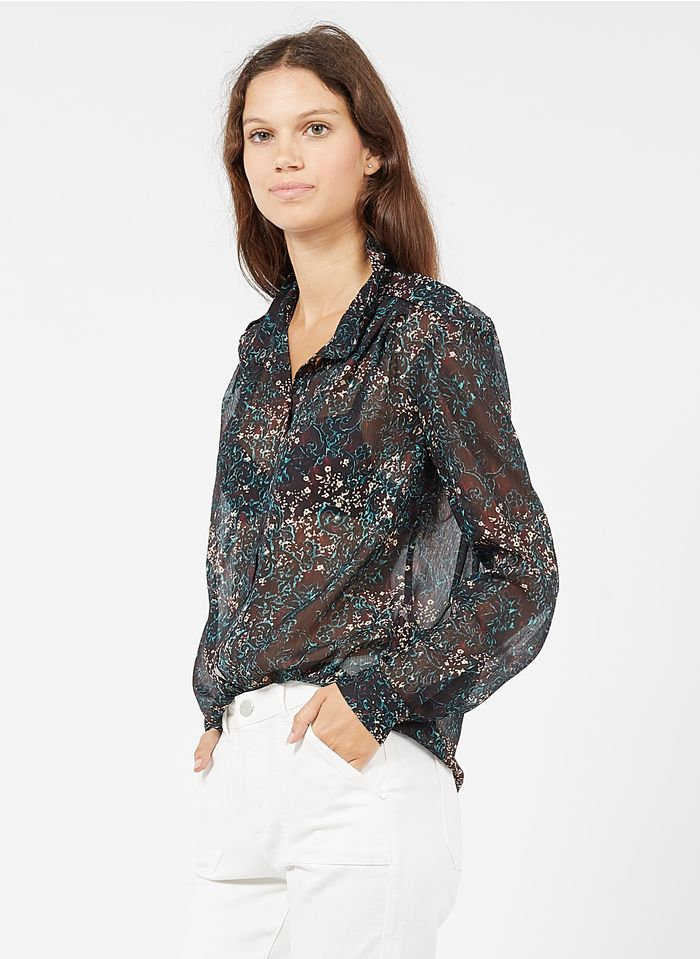IKKS Multicolored Floral print high-neck shirt