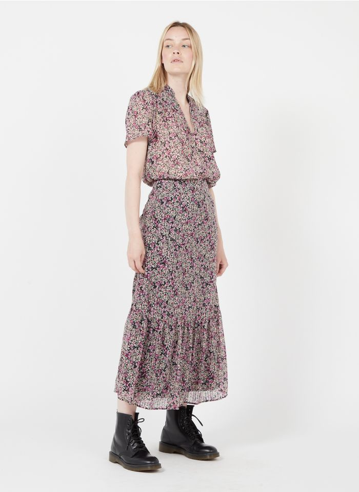 IKKS Purple Floral print midi skirt with ruffles