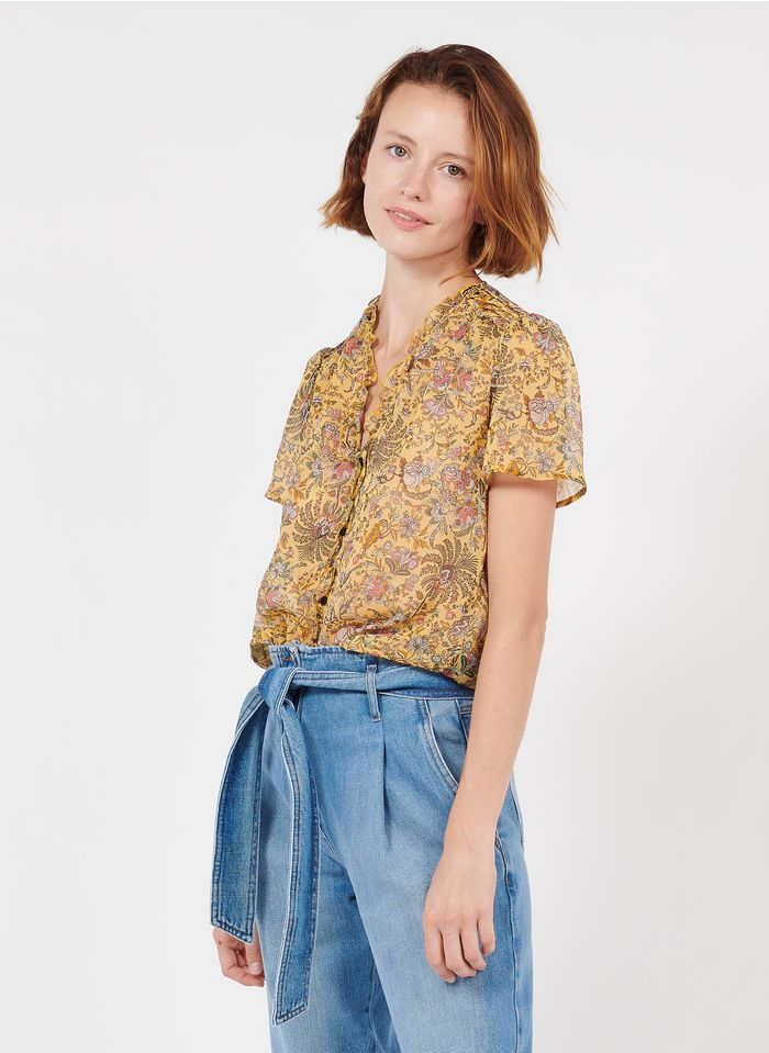 IKKS Yellow Floral print V-neck top