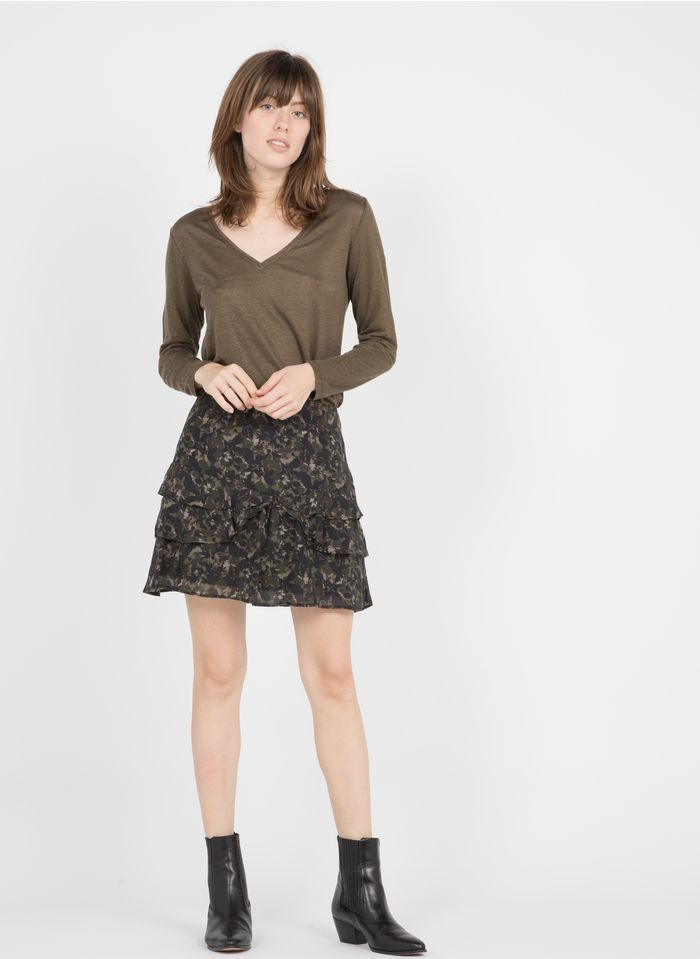 IKKS Khaki Flounced short camouflage-printed skirt