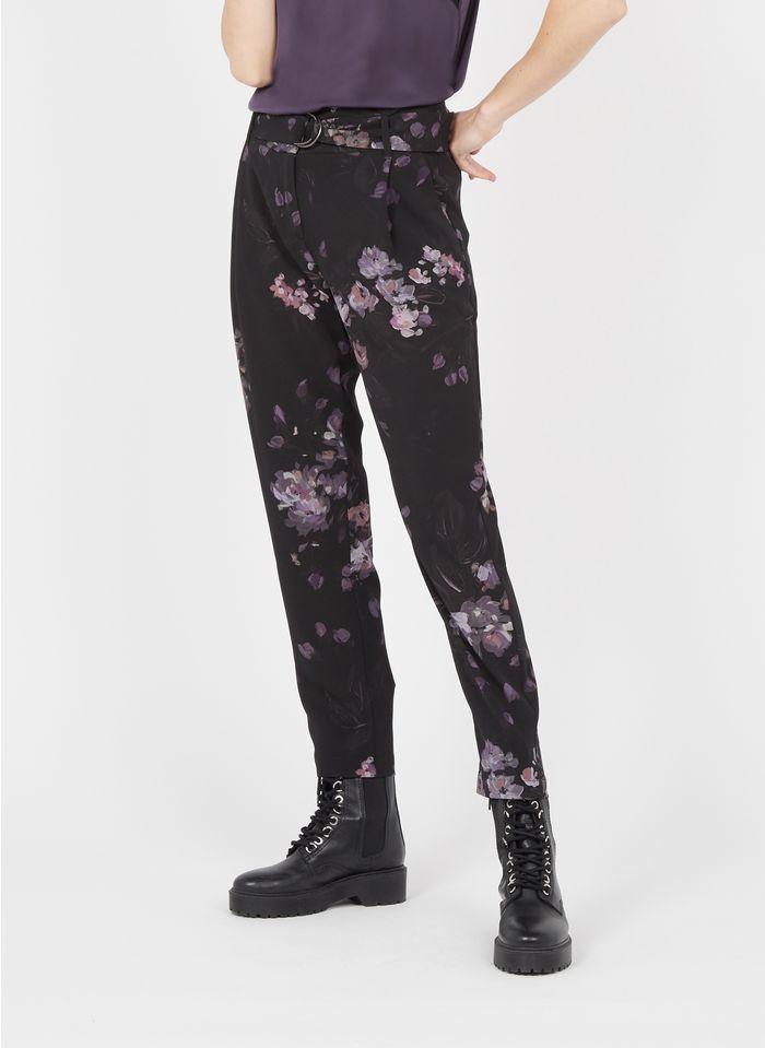 IKKS Black Fluid printed pants