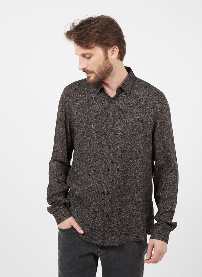 IKKS Khaki Fluid slim-fit floral print shirt with classic collar