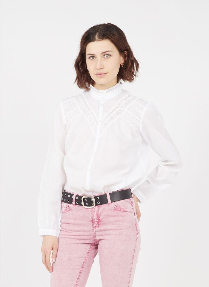 IKKS White High-neck embroidered cotton shirt