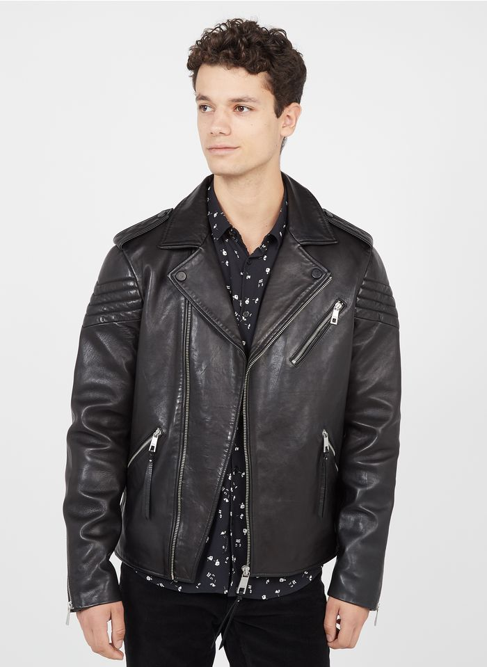 IKKS Black Leather jacket with tailored collar
