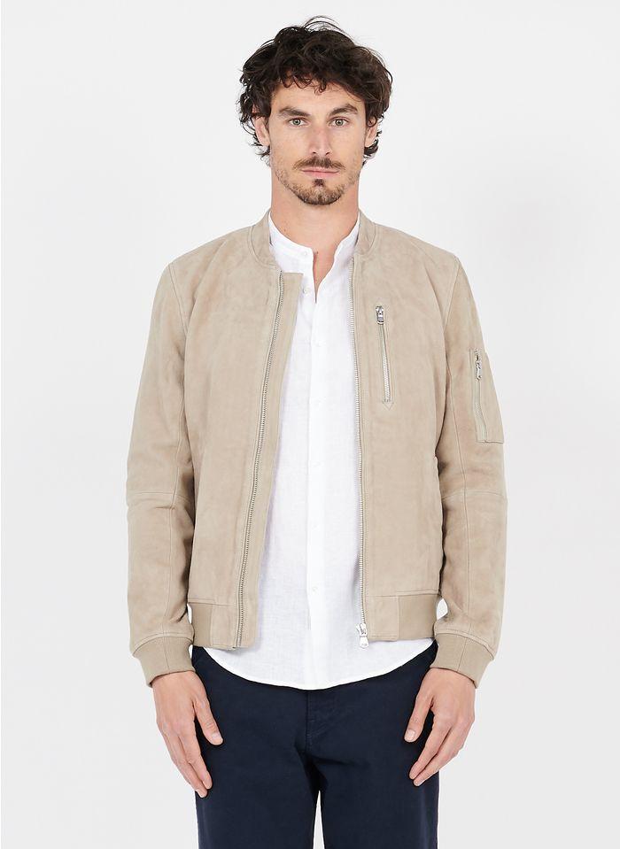 IKKS Beige Leather jacket with varsity collar