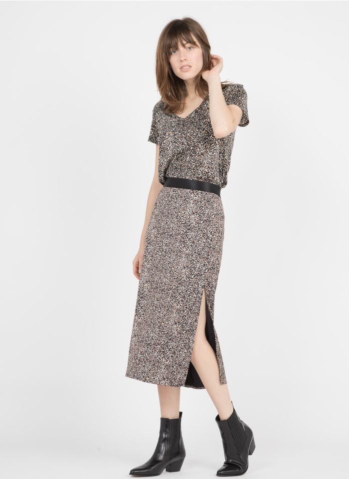 IKKS Black Leopard print midi skirt