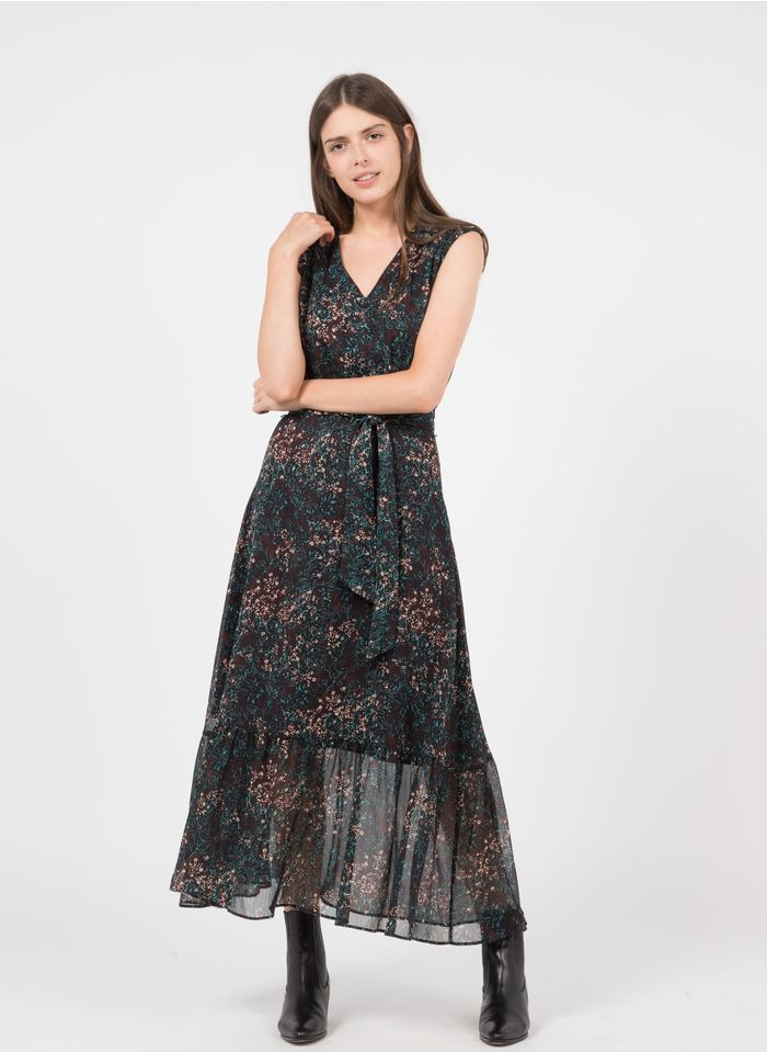 IKKS Multicolored Long arabesque floral print V-neck dress