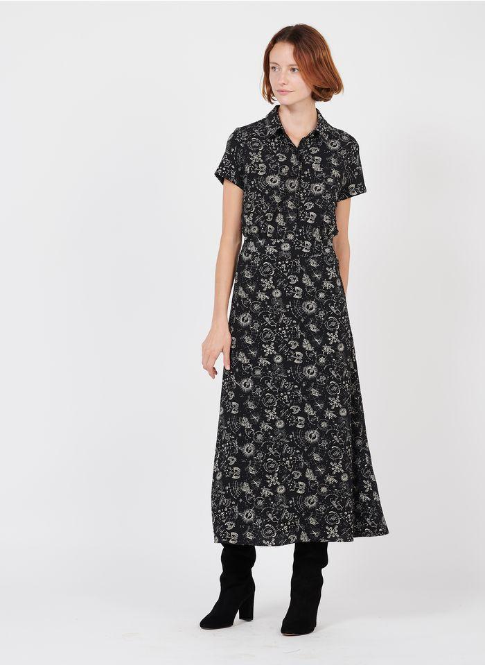 IKKS Black Long crepe dress with tattoo print