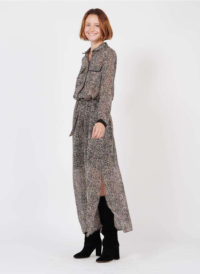 IKKS Black Long dress with all-over animal print