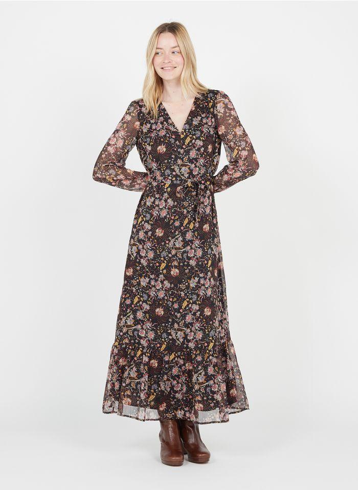 IKKS Black Long printed V-neck dress