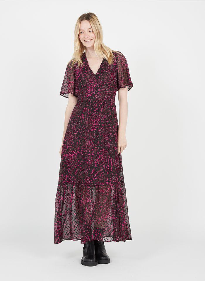 IKKS Pink Long printed V-neck dress