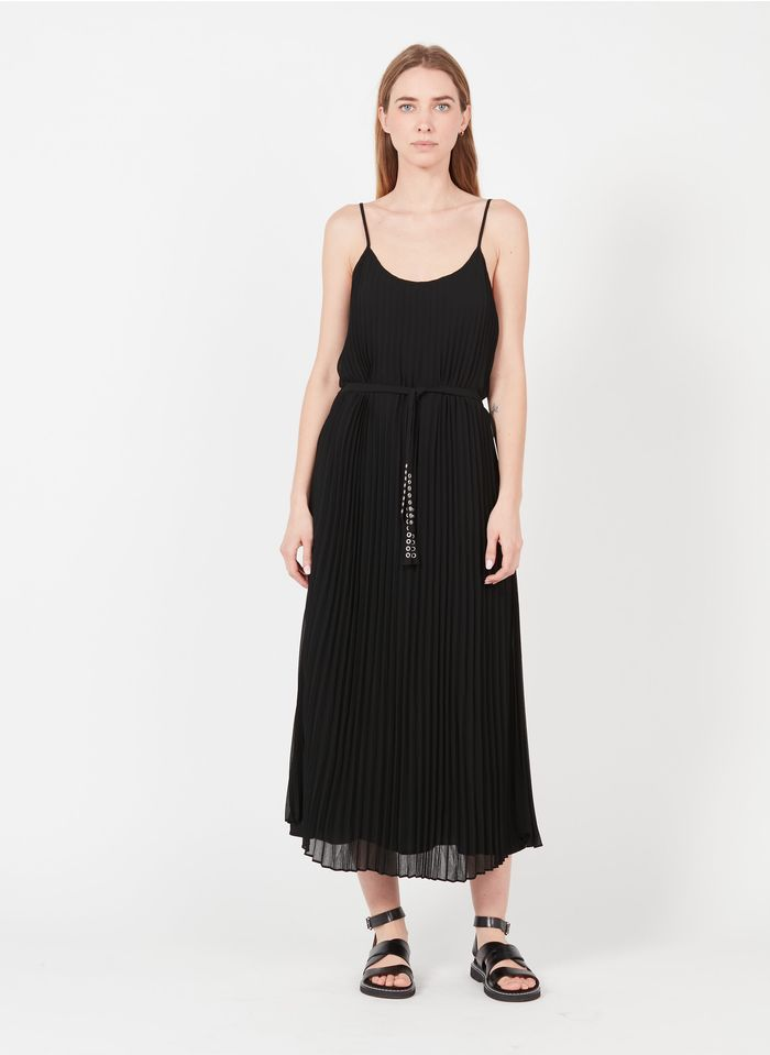 IKKS Black Long round-neck pleated and belted dress