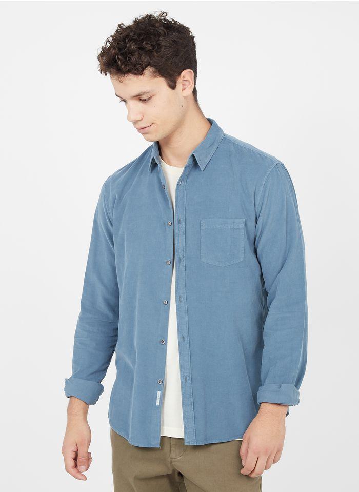 IKKS Blue Needlecord shirt with classic collar