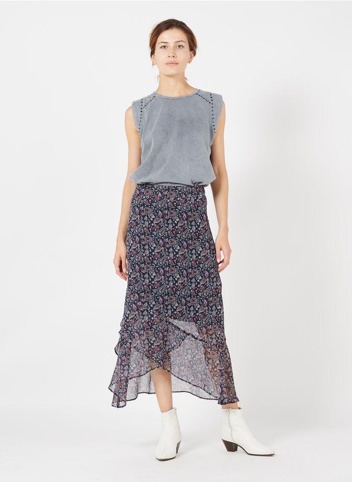 IKKS Blue Paisley print asymmetric midi skirt